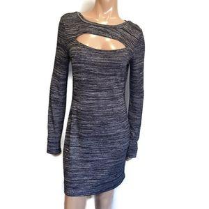 🍁 RETROD Long Sleeve Heathered Cut Out Knit Dress